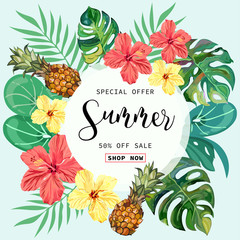 Summer Sale tropical Banner Background.