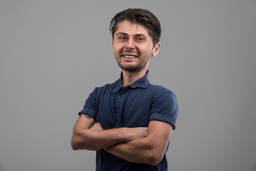 Funny man portrait in studio