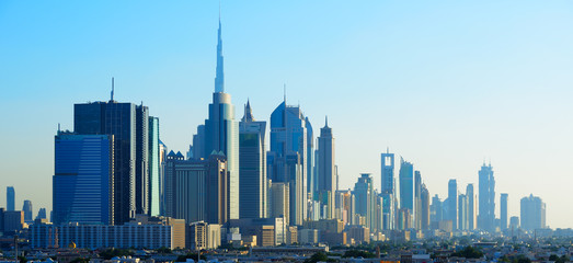 Panoramic view of skyscrapers of Dubai World Trade center