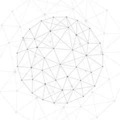 Geometric abstract background with connected line and dots. Structure molecule and communication. Scientific concept for your design. Medical, technology, science background. illustration.