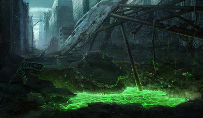 digital illustration of destroyed abandoned city street view environment landscape with polluted green water