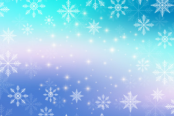 Christmas and Happy New Years illustration background with golden snowflakes.