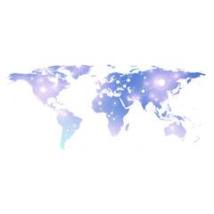 Political World Map with global technology networking concept. Digital data visualization. Lines plexus. Big Data background communication. Scientific illustration.