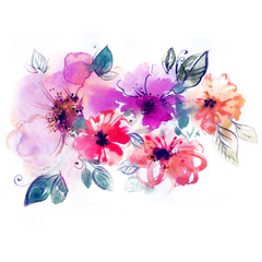 Flowers watercolor illustration. Manual composition for Mother's Day, wedding, birthday, Easter, Valentine's Day. Pastel colors. Spring and summer background.