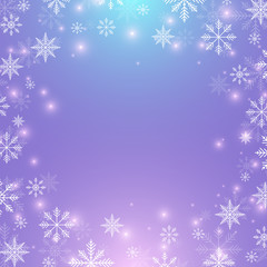 Christmas and Happy New Years background with golden snowflakes, illustration.