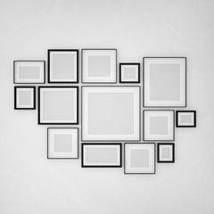 photo frame on wall,photo arrangements,wall art, 3d illustration