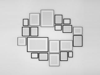 photo frame on wall,photo arrangements,wall art, 3d illustration