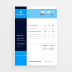 professional business invoice template design in blue color