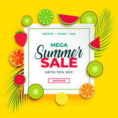 bright summer sale banner with fruits background