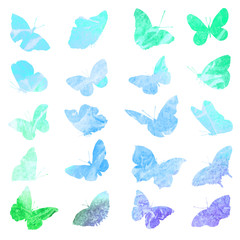 Silhouettes of butterflies in watercolor.