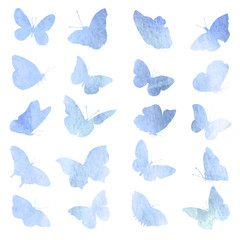 Abstract collection of butterfly silhouettes in watercolor.