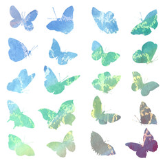 Watercolor set of animal images are isolated in blue tones.