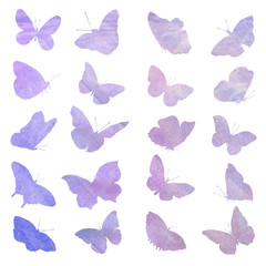 Abstract collection of butterfly silhouettes.