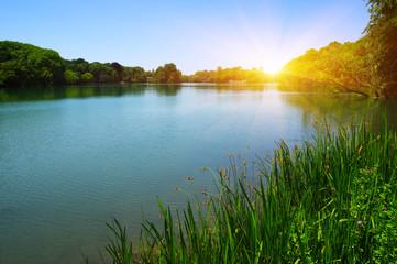Woda jeziora i słońce