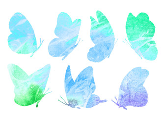 A set of abstract images of a blue butterfly.