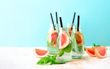 Grapefruit and basil summer refreshing drink