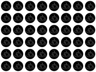 On white background black circles with white coffee cups silhouettes, seamless pattern