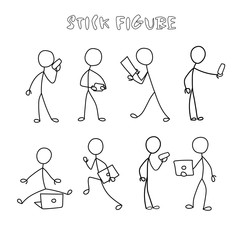 Set stick figure people with gadgets. Simple men and women black pictogram with mobile phone and computers