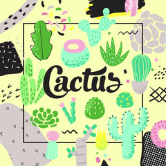 Floral Design with Cactuses. Succulents Childish Style Background for Decor, Covers. Vector illustration