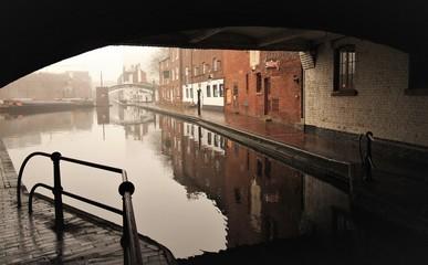Birmingham canal view in dust (under broad street bridge)