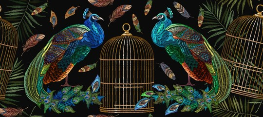Embroidery peacocks and birds gold cage seamless pattern. Tails of peacocks and birds cage. Classical fashionable embroidery beautiful peacocks. Fashionable template for design of clothes