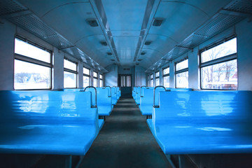 interior of the old train car, toned