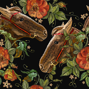 Embroidery horse head and wild roses flowers seamless pattern. Fashionable template tapestry flowers renaissance. Classic style embroidery, horse and beautiful dogrose pattern