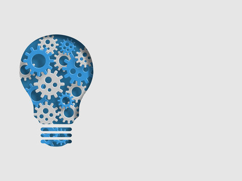 Lightbulb containing group of 3d iron gear represents concept of engineering and innovation. Technology Background. Vector illustration.