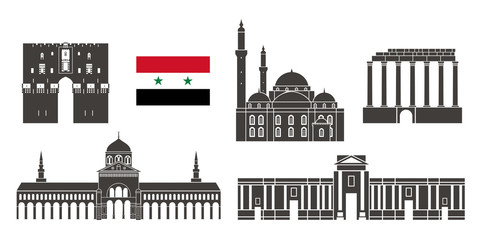 Syria set.  Isolated  Syria  architecture on white background