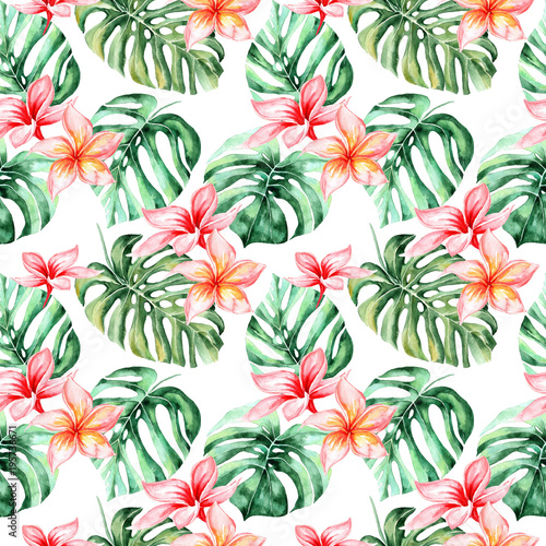 quotwatercolor background with tropical flowers palm leaves