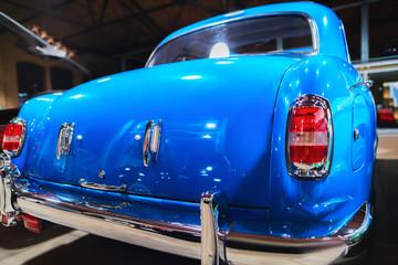 Blue Retro car in garage in Berlin