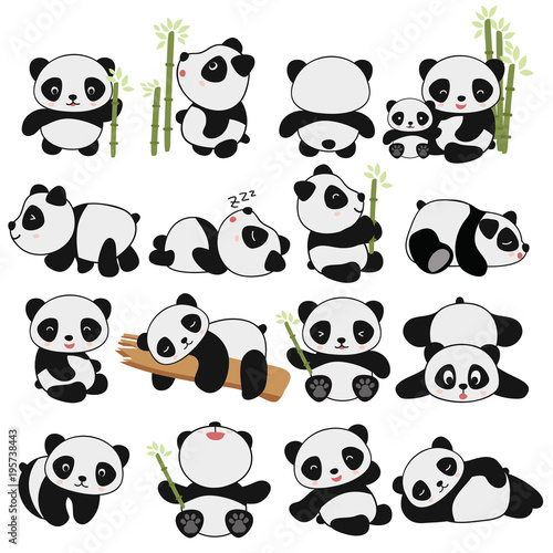 hand drawing cute panda with a lot of variation fotolia com の