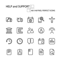 HELP and SUPPORT vector illustration thin line 48x48 Pixel Perfect 20 icon set for business people logistics transportation technical technology assessment customer service assistant. Editable Stroke