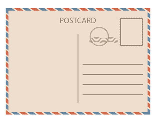 Postal card isolated on white background. Vector illustration.