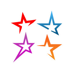 Collection of star logo and icon design template