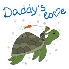 A turtle and a small turtle are playing under the water. Daddy's love