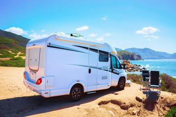 Camper in Capo Pecora resort at Mediterranean sea Sardinia