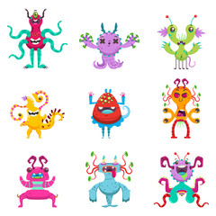 Cute cartoon monsters set. Vector flat character of funny creatures isolated on white background.