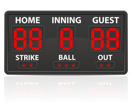 baseball sports digital scoreboard vector illustration