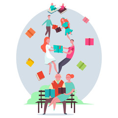 Man, woman, teenagers, grandparents and babies read books. Life cycle of people. Vector flat concept illustration.