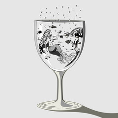 Mermaid in a glass fantasy contour drawing