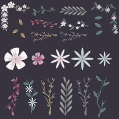 Spring flowers, tree branches and leaves vector set for design isolated on background.