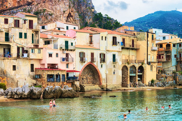 Seaside in Cefalu old town Sicily Italy