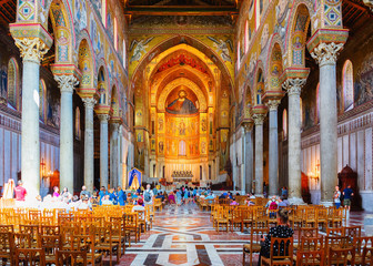 People in Monreale Cathedral Sicily Wall mural