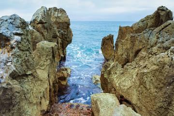 Rocky Coast of Cefalu at Mediterranean Sea Sicily