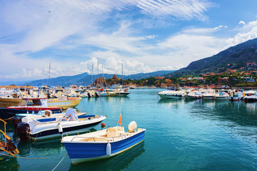 Cefalu port in Mediterranean sea Sicily