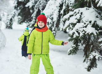 the boy in the snow in the Park