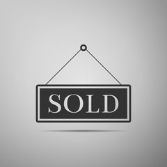 Sold sign isolated on grey background. Sold sticker. Sold signboard. Flat design. Vector Illustration