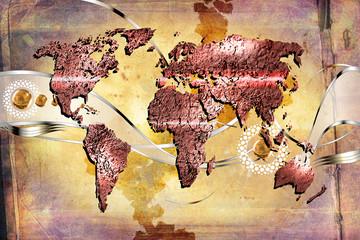 World map paint design art illustration