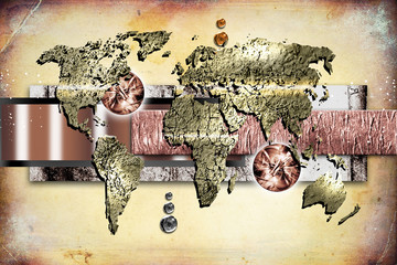 World map paint design art illustration